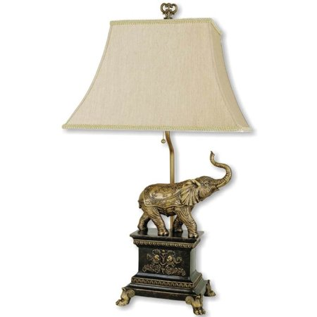 29 Quot Tall Polyresin Elephant Table Lamp With Antique Gold