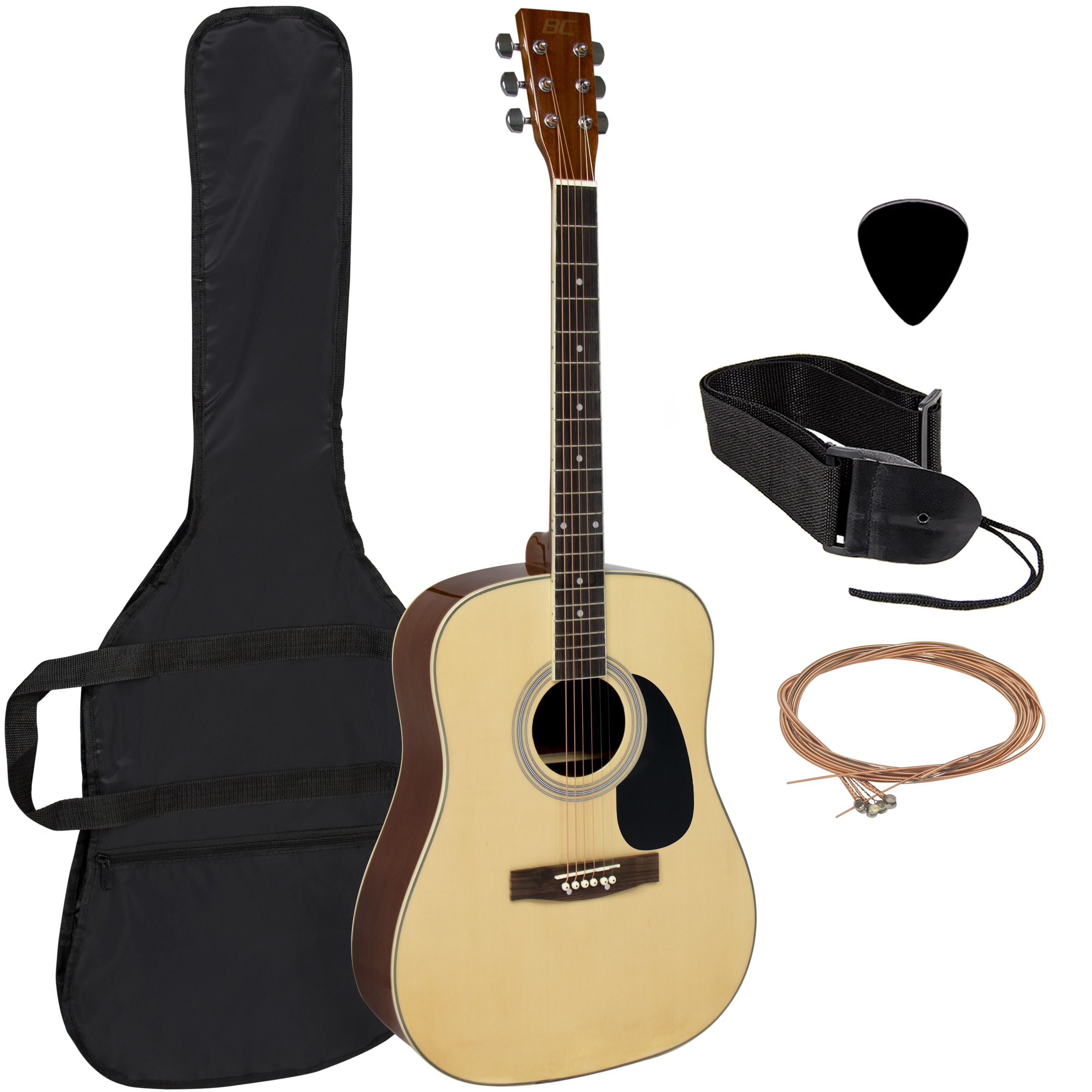 """Acoustic Guitar 41"""" Full Size Natural Includes Guitar Case, Strap and More"""