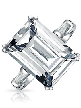 Art Deco Style 10Ct Solitaire Cubic Zirconia AAA CZ Baguettes 925 Sterling Silver Emerald Cut Statement Engagement Ring