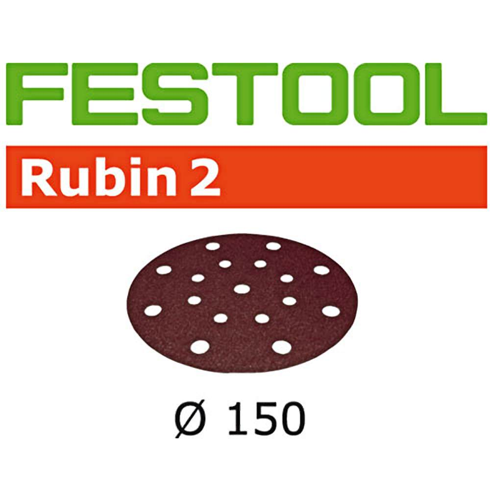 Festool 499113 P120 Grit Rubin 2 Abrasives For Ro 150/Ets 150 Sander, 10-Pack