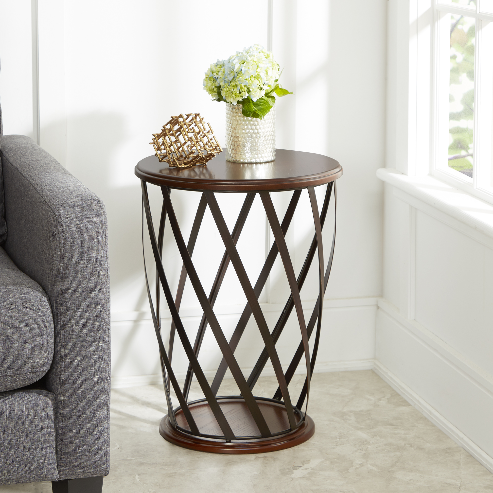Better Homes & Gardens Industrial Cage Metal and Wood Accent Table