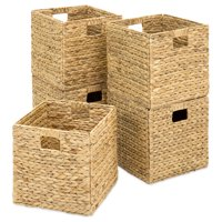 Product Image Best Choice Products Set Of 5 Foldable Handmade Hyacinth Storage Baskets W Iron Wire Frame