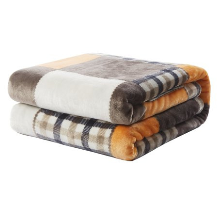 Tache Home Fashion Fall Farmhouse Super Soft Patchwork Throw Blanket
