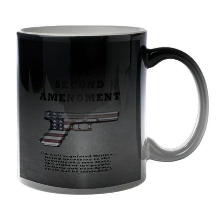 KuzmarK Black Heat Morph Color Changing Coffee Cup Mug 11 Ounce - Second Amendment American Flag Gun Black 7 Ounce Cup