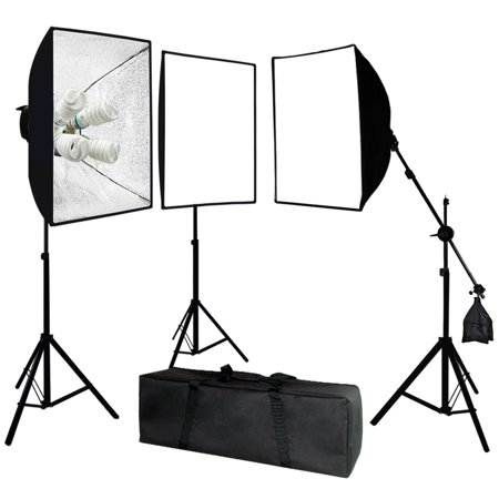 Head Studio Kit (LimoStudio Photo Video Studio 2400 Watt Softbox Continuous Light Kit with Overhead Head Light Boom Kit, LIWA45 )
