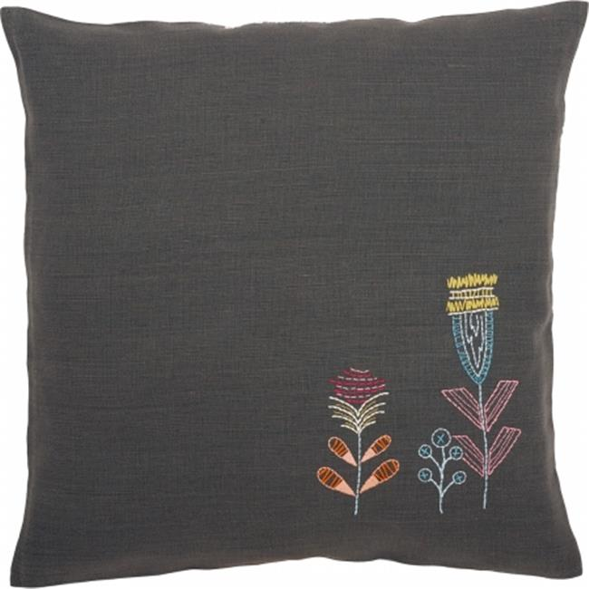 Stylized Flowers I Cushion Stamped Embroidery Kit - 16 x 16 in.