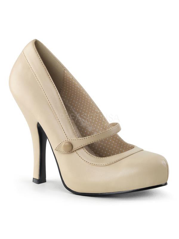 """CUTIE02/CRPU Pin Up Couture Platforms 4 1/2"""" Cutiepie Shoes Cream Pu Size: 5"""