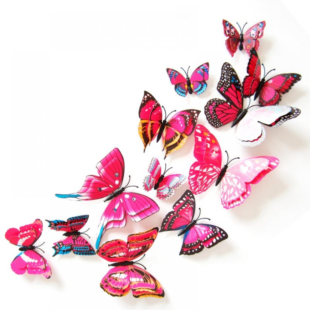 12pcs Solid Butterfly Wall Decals Vivid 3D Art Stickers DIY Kids Room Decoration