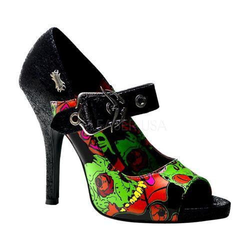 ZOM07 B PU Demonia Screen Prints Shoes BLACK Size: 6 by