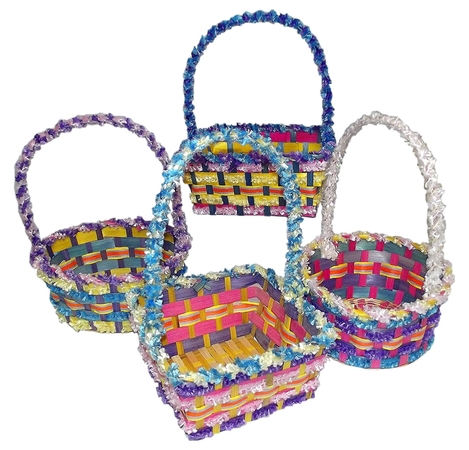 """Springtime Easter Medium Bamboo Fringe Basket (13"""" tall)-Includes 1; styles vary (13""""x9""""x8"""")"""