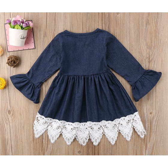 StylesILove - stylesilove Cute Denim Bell Sleeve Lace Trim Kids Girl Dress (110/4-5 Years