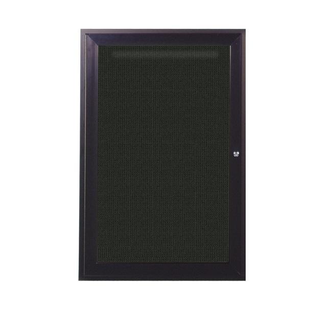 Ghent PB13630F-95 36 in. x 30 in. 1-Door Bronze Aluminum Frame Enclosed Fabric Tackboard - Black - image 1 of 1