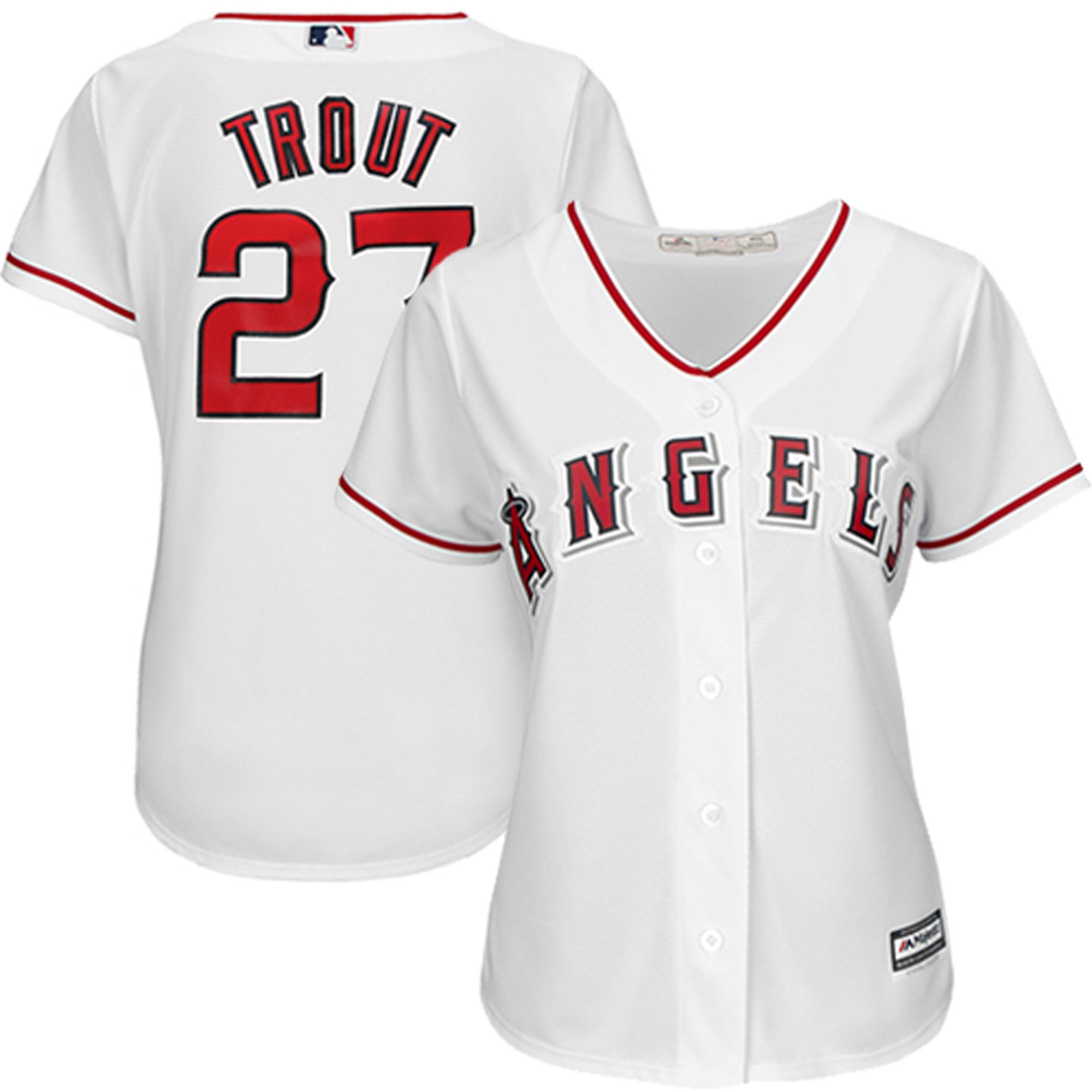 Mike Trout Los Angeles Angels Majestic Women's Cool Base Player Jersey - White