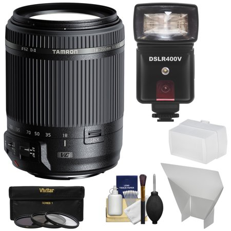 Tamron 18-200mm f/3.5-6.3 Di II VC Zoom Lens with 3 Filters + Flash & LED Video Light + Diffuser + Reflector + Kit for Canon EOS Cameras