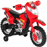 Best Choice Products 6V Electric Kids Ride On Motorcycle Dirt Bike W  Training Wheels- Red by
