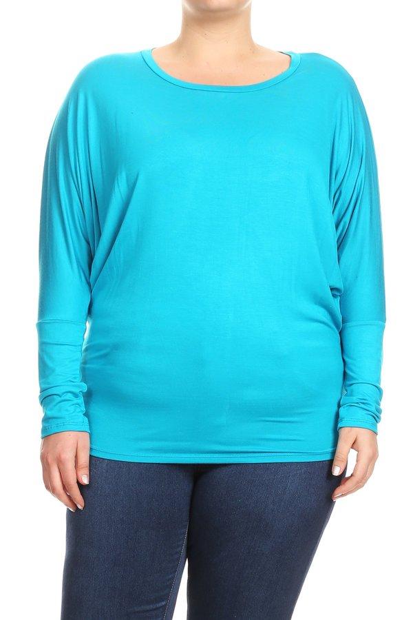 Women's PLUS Trendy Style Long Sleeves Solid Top