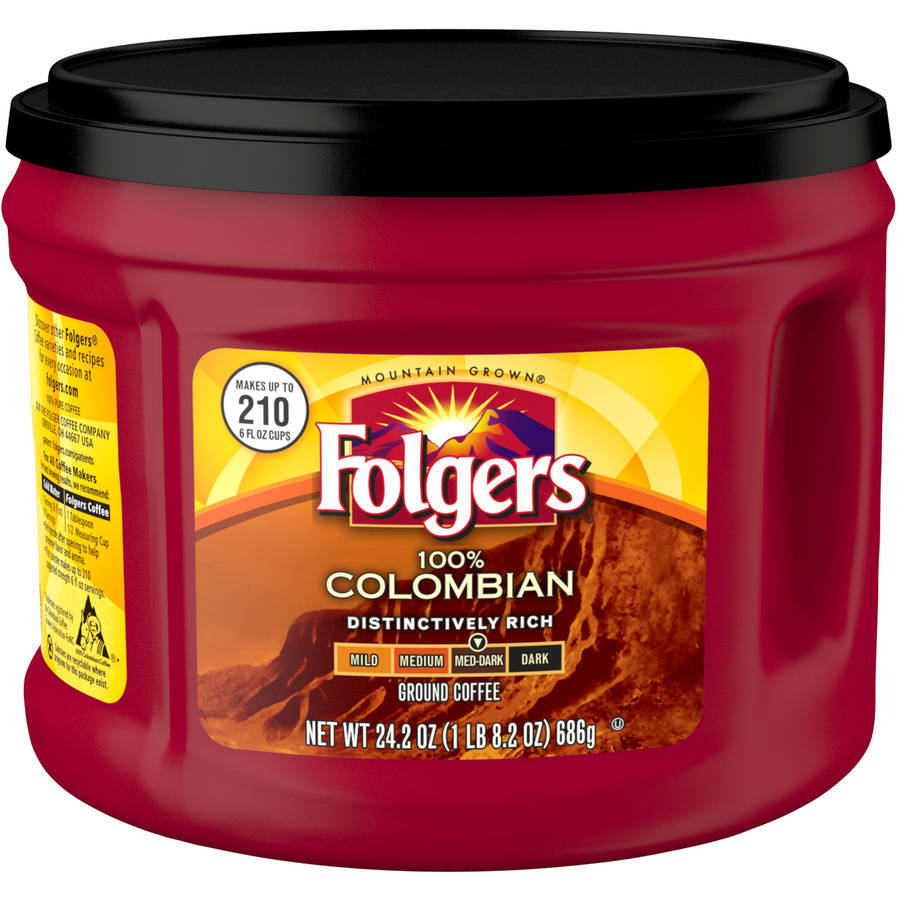 Folgers 100% Colombian Medium Dark Roast Ground Coffee, 24.2 oz