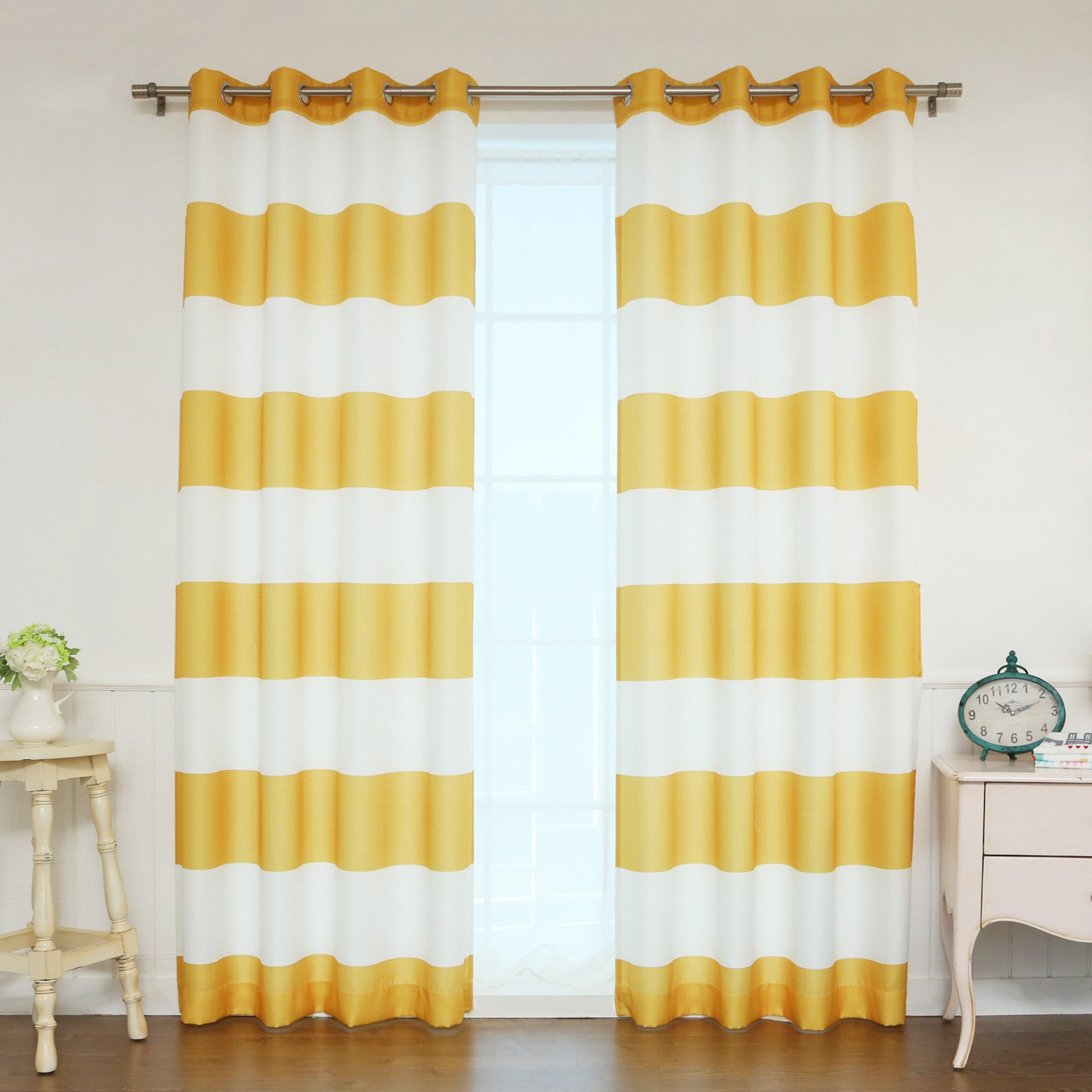 Best Home Fashion Rugby Stripe Opaque Curtain Pair