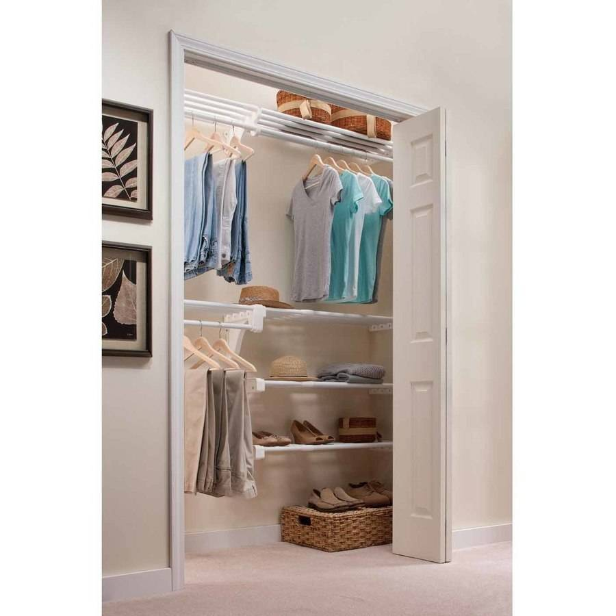 EZ Shelf Reach-In Closet Kit, Up to 10.1' of Hanging and 20' of Shelf Space, White