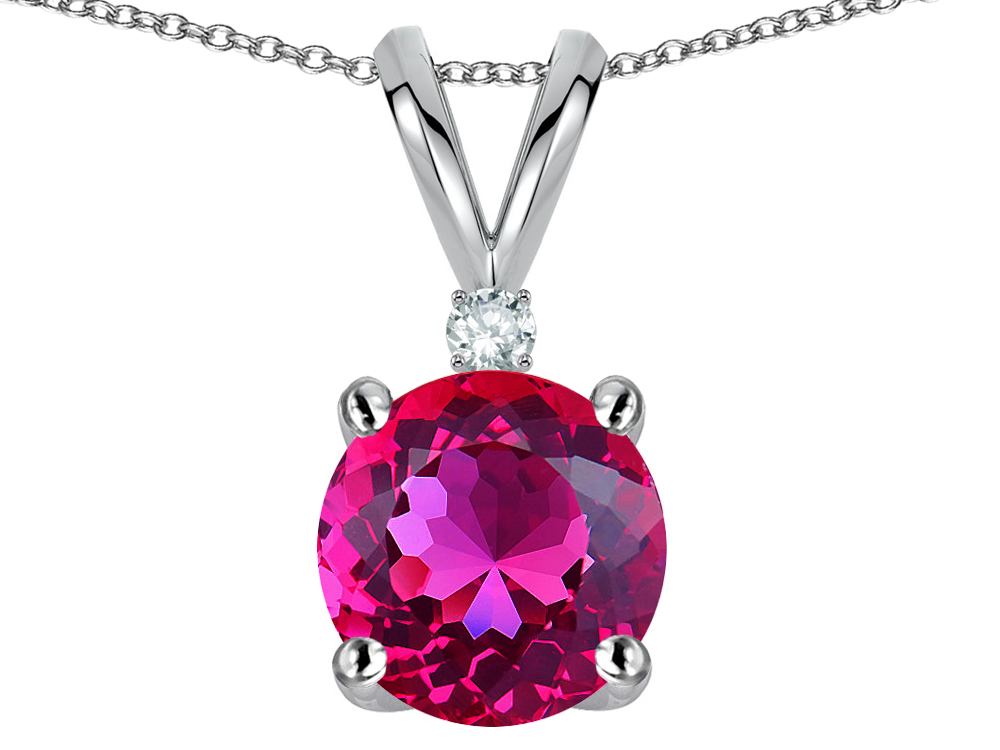 Star K Round 7mm Simulated Pink Tourmaline Pendant Necklace in 14 kt White Gold by