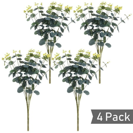 4 Pcs Artificial Silver Dollar Eucalyptus Leaf Branches, Fake Greenery Foliage Plants with Total 20 Stems for Garden, Wedding, Home, Outdoor/Indoor Decor