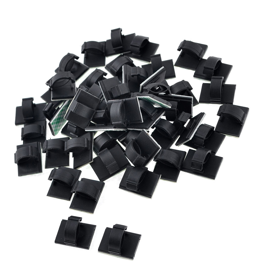 50 x Rectangle Self-adhesive 10mm Cable Tie Mount Clips Black