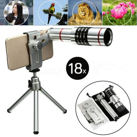 Universal 18x Optical Zoom Telescope Camera Lens Kit Monocular Telescope With Mini Tripod for Samsung Galaxy Note 8 S9/S8/S8 Plus/S7 Edge/S7, for iPhone X 8 Plus 8 100 X Zoom Mini