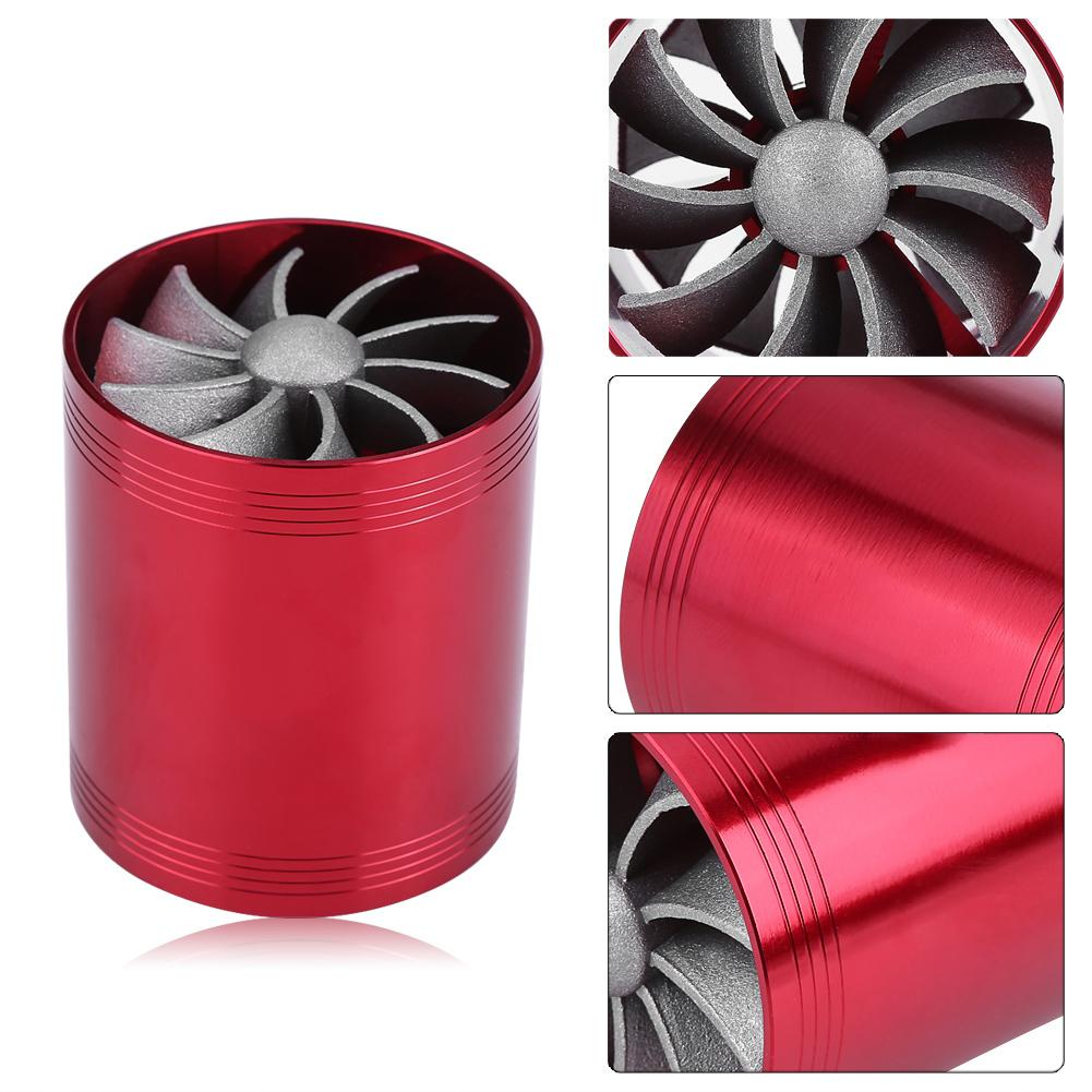 Car Super Charger Turbine Turbo Air Filter Intake Dual Fan Fuel Gas Saver Red