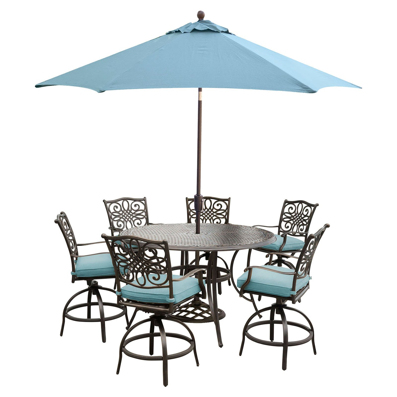 Hanover Traditions 7-Piece Outdoor High-Dining Bar Set with Cast-Top Table in Blue