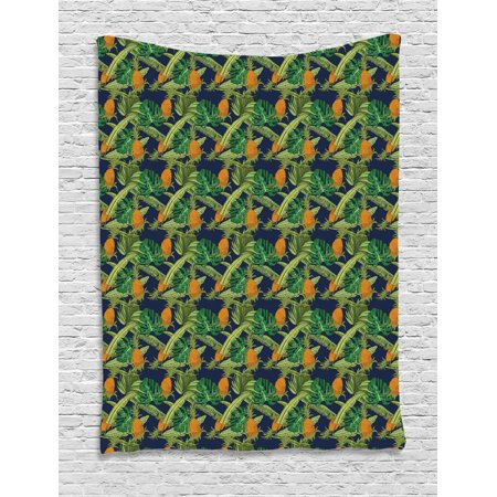 Tropical Tapestry, Natural Theme Exotic Pineapples with Monstera and Banana Leaves, Wall Hanging for Bedroom Living Room Dorm Decor, Dark Blue Green and Orange, by Ambesonne ()