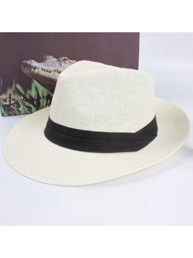 Women Men Summer Panama Style Jazz Fedora Straw Wide Brim Beach Cap Sun Hat