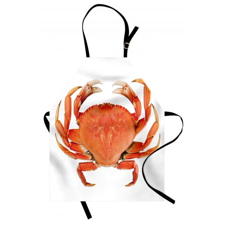 Crabs Apron Sea Animals Theme a Cooked Dungeness Crab with National Marks Digital Image Print, Unisex Kitchen Bib Apron with Adjustable Neck for Cooking Baking Gardening, Orange White, by (Cooking Dungeness Crab)