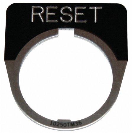 Eaton 30mm 1/2 Round Reset Legend Plate, Aluminum, Black  Aluminum  -
