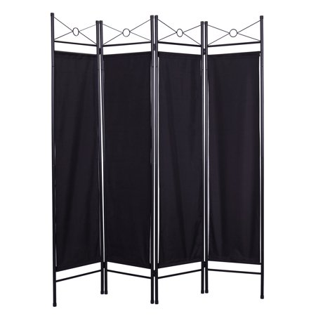 - 4-Panel Steel Room Divider Screen Black Fabric Folding Partition Home Office Privacy Screen