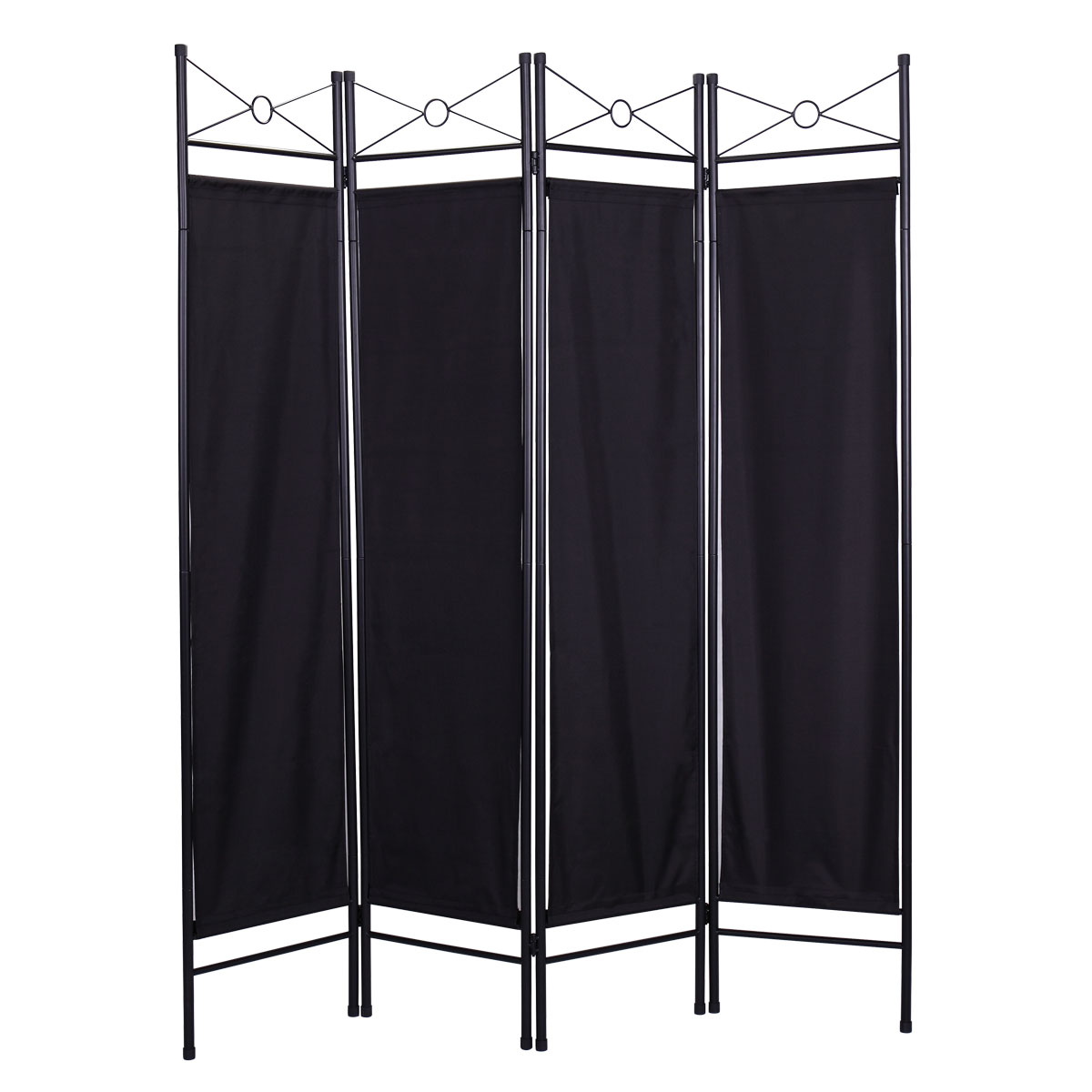 4-Panel Steel Room Divider Screen Black Fabric Folding Partition Home Office Privacy Screen