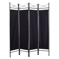Product Image 4 Panel Steel Room Divider Screen Black Fabric Folding Parion Home Office Privacy
