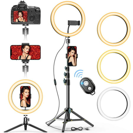"""10"""" Selfie Ring Light with 2 Phone Stand & 2 Holders, Allovit Beauty Circle Led Ringlight for Makeup Photography Live Steaming Camera Vlog YouTube Video, Compatible with iPhone & Android"""