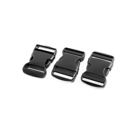 Plastic Clasp Side Release Buckle Black 3 7cm Webbing Strap 3Pcs