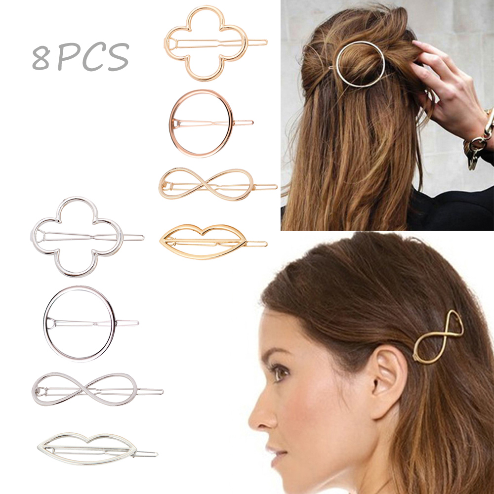 18pcs School Metal Bow Prong Snap Hair Clips Barrettes Hair Ties Ponytail Holder