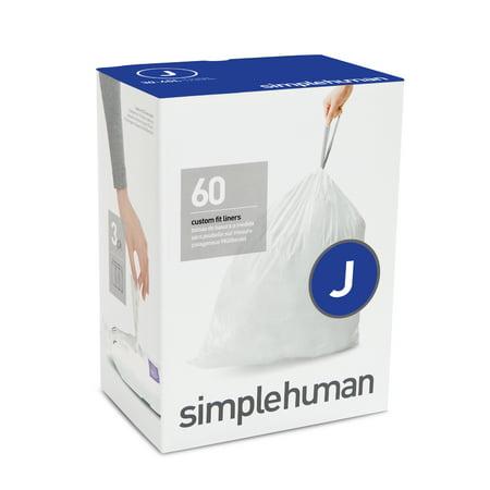 simplehuman 3 x 20pk (60 liners), code J custom fit liners - 30-45 l / 8-12 gal ()