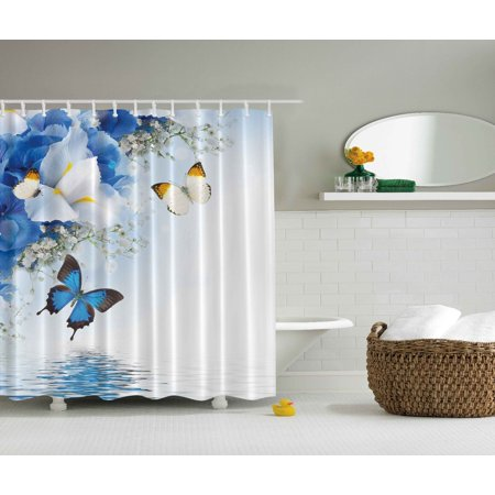 Blue White Wild Flowers Monarch Butterflies Shower Curtain Extra Long 84 Inch