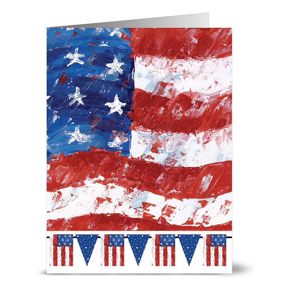 24 Note Cards - Flag and Pennants - Blank Cards - Red Envelopes Included