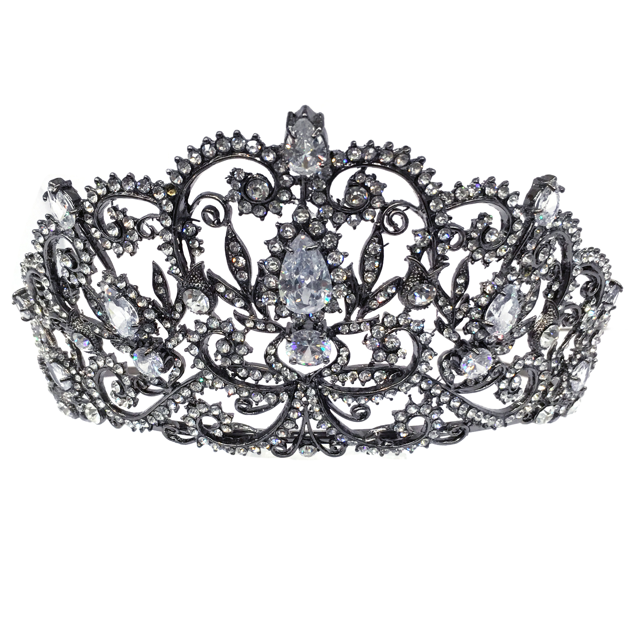 Kate Marie CWN-DH5913 Rhinestone Crown Tiara Headband in Black