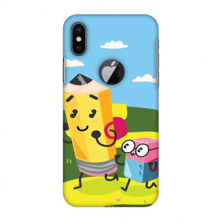 iPhone X Case - Cute Pencil & Eraser, Hard Plastic Back Cover. Slim Profile Cute Printed Designer Snap on Case with Screen Cleaning Kit - Iphone Eraser