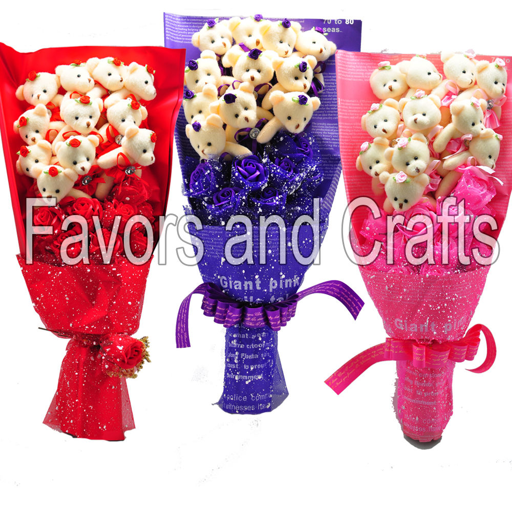 1 Big Teddy Bear Bouquet Silk Flowers Valentines Day Gift Mothers Day Plush Cute Centerpiece