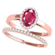 MauliJewels Engagement Rings for Women 0.70 Carat Created Ruby And Diamond Bridal Set 4-prong 10K Rose Gold Gemstone Wedding Jewelry Collection