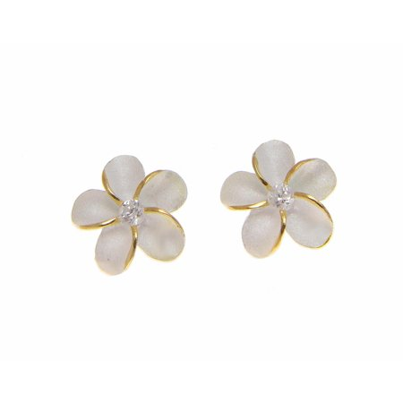 Sterling silver 925 Hawaiian plumeria flower cz earrings post stud 10mm 2t yellow gold plated