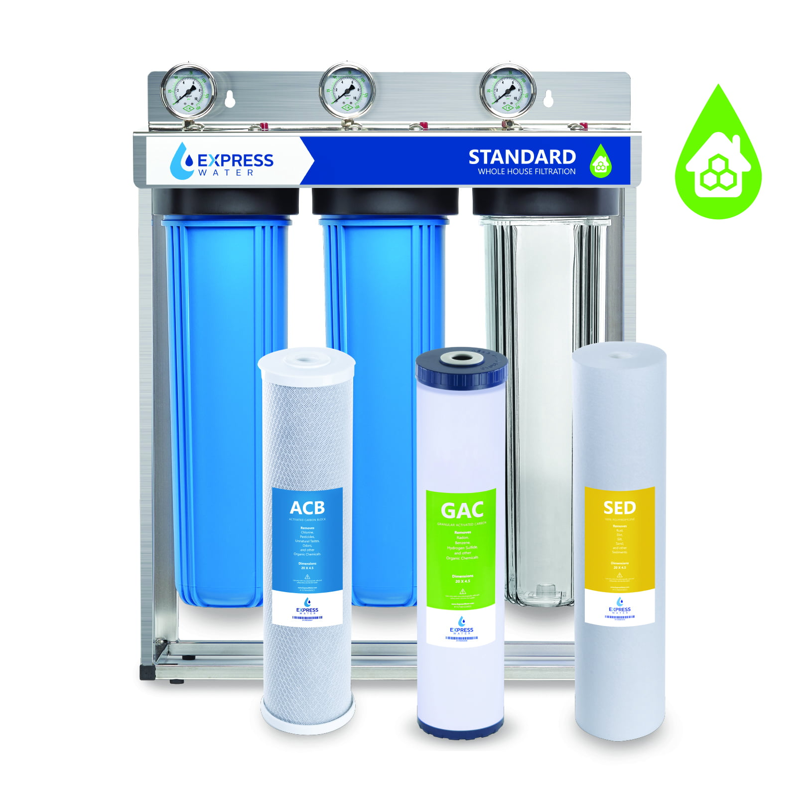 2 Dry Pressure Gauges 3 Stage Whole house water Sediment Carbon Filter