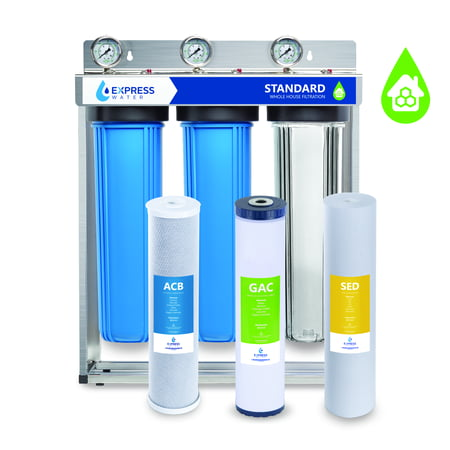 """Express Water Whole House Water Filter – 3 Stage Home Water Filtration System – Sediment, Charcoal, Carbon Filters – includes Pressure Gauges, Easy Release, and 1"""" Inch Connections Filtration System Connections"""