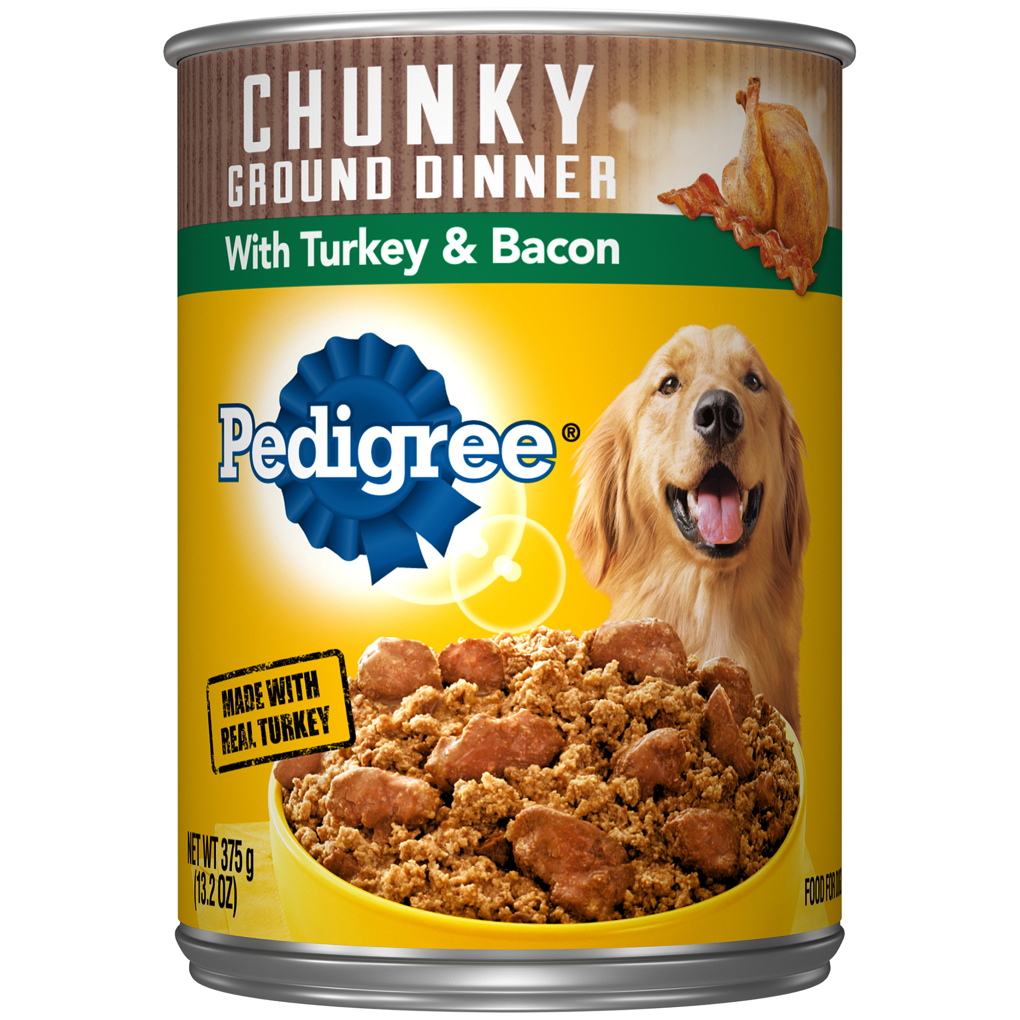 PEDIGREE Chunky Ground Dinner With Turkey & Bacon Adult Canned Wet Dog Food, 13.2 oz. Can